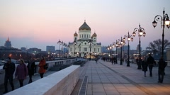 Christ the Savior Cathedral and Patriarchal Bridge. Stock Footage