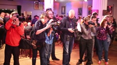 Journalists waiting for the nominees of the Scenic Award Slovo Stock Footage