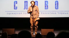 Alexander Rodionov on stage on the Scenic Award Slovo Stock Footage