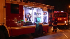 The equipment in fire engine next to the Metro Preobrazhenskaya Square Stock Footage