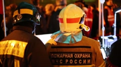 Firefighters on the street next to the Metro Preobrazhenskaya Square Stock Footage