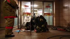 Firefighters at the doors of the metro Preobrazhenskaya Square Stock Footage
