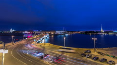 Malaya Neva river. Birzhevoy Exchange Bridge and traffic at night timelapse. St Stock Footage