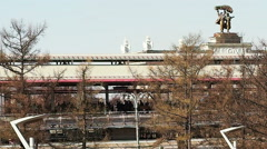 The Moscow monorail train in the area of VDNH exhibition Stock Footage