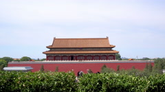 Palaces, pagodas inside the territory of the Forbidden City Museum in Beijing Stock Footage