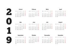Simple calendar on 2019 year in german language Piirros