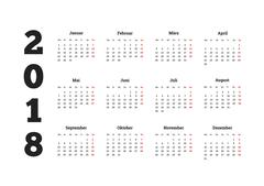Simple calendar on 2018 year in german language Piirros