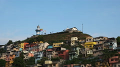 Zoom in shot of cerro santa ana in guayaquil Stock Footage