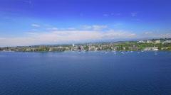 4K Lake Geneva Switzerland cinematic aerial shot Stock Footage