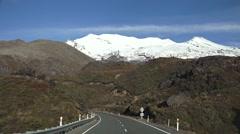 Snow cap on Mount Ruapehu Stock Footage