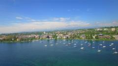 4K Lake Geneva Switzerland aerial shot Stock Footage