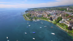 UHD Orbit drone shot around the lovely city of Morges - Switzerland Stock Footage