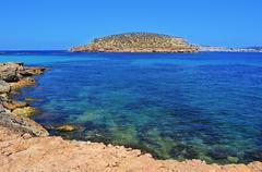 The Southern coast of Sant Antoni de Portmany, in Ibiza Island, Spain Stock Photos