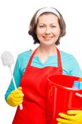 beautiful cheerful woman with a cleaning brush for toilet vertical portrait o - stock photo