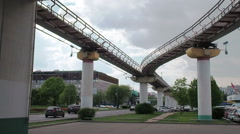 The Moscow monorail train in the area of Ostankino TV center Stock Footage