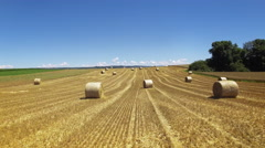 UHD Straw bales Countryside cinematic drone shot Stock Footage
