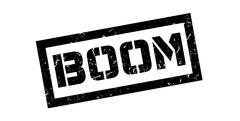 Boom rubber stamp - stock illustration