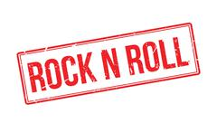 Rock n roll rubber stamp - stock illustration