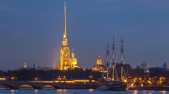 The Peter and Paul Fortress day to night timelapse is the original citadel of St Stock Footage