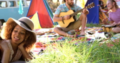 Hipster friends playing music and singing Stock Footage