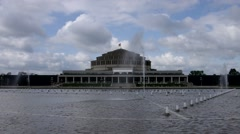 Wroclaw Centennial Hall and fountains in the park Stock Footage