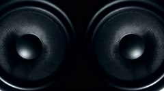 Set of round audio speakers vibrating from sound Stock Footage