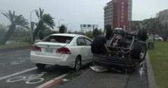 Aftermath Cars Flipped By Extreme Wind Of Major Hurricane Stock Footage