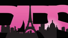 Paris caption and Paris landmarks silhouettes 4K animation. Pink background Stock Footage
