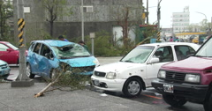Damage To Cars In Aftermath Of Major Hurricane Landfall Stock Footage