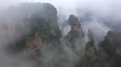 Panorama from the highest point of Huashan mountains in China Stock Footage