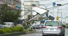 Major Damage To City Streets In Aftermath Of Powerful Hurricane Landfall Stock Footage