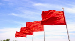 Red flag waving on the wind Stock Footage