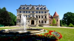 Altdoebern castle and fountain Stock Footage