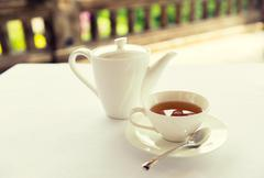 Tea-set on table at restaurant or teahouse Stock Photos