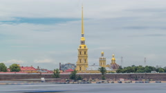 Peter and Paul Fortress across the Neva river timelapse hyperlapse, St Stock Footage