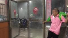 Doors Smash Apart In Violent Chaos Of Major Hurricane Wind And Rain Stock Footage