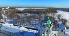 Aerial view of the belfry with clocks, Yaroslavl, Russia. Snowy winter. - stock footage