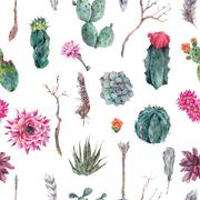 Cactus watercolor seamless pattern in boho style Stock Illustration