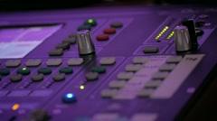 Close up view of digital audio mixer. Stock Footage
