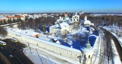 Aerial view of the Monastery of the Transfiguration of the Saviour, Yaroslavl. Stock Footage