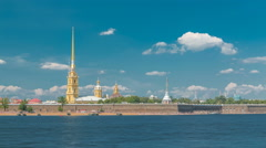Peter and Paul Fortress across the Neva river timelapse, St. Petersburg, Russia Stock Footage