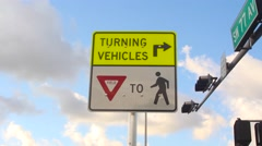 SIGN - TURNING VEHICLES  Stock Footage