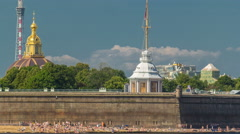 Beach near Peter and Paul Fortress across the Neva river timelapse, St Stock Footage