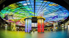 Kaohsiung, Taiwan -The Dome of Light at Formosa Boulevard Station Stock Footage