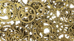 Spinning Zoom into Pile of Vintage Gears Stock Footage