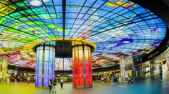 Kaohsiung, Taiwan -The Dome of Light at Formosa Boulevard Station - stock footage