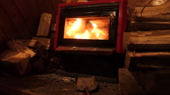 Warm fireplace fire with wood logs on cold winter night Stock Footage