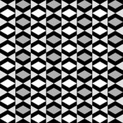 Geometric pattern with alternate white grey and black rhombus Stock Illustration