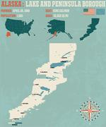 Lake and Peninsular Borough Alaska USA - stock illustration