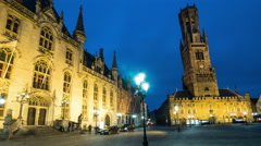 Time lapse: Grote Markt, Belfry and Provinciaal Hof, Bruges, Belgium at night Stock Footage